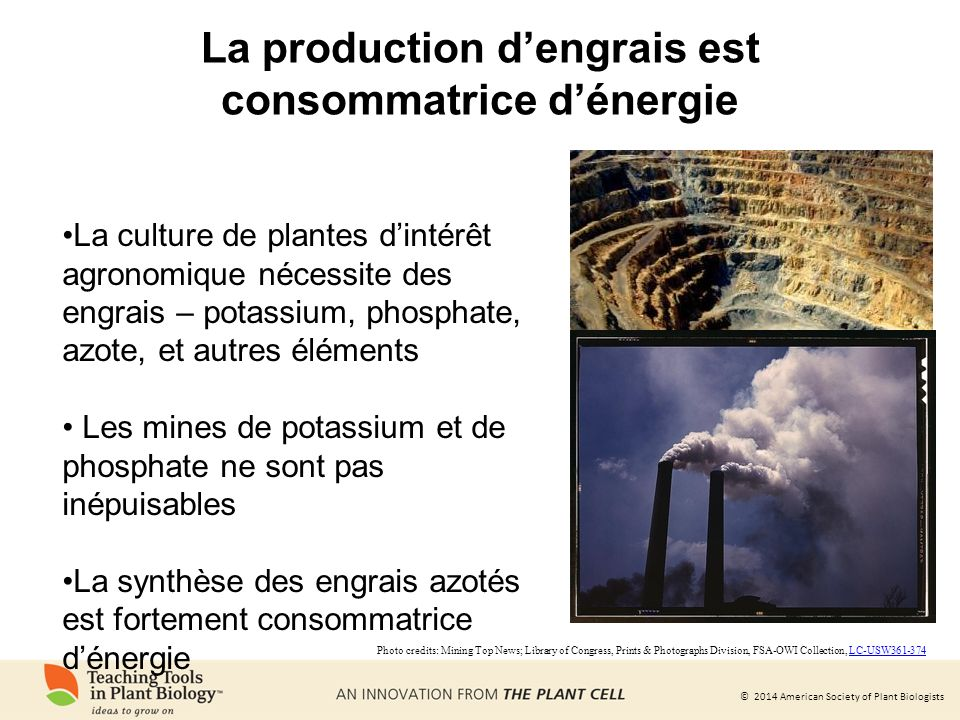 La production d'engrais est consommatrice d'énergie