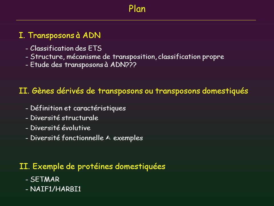 Plan I. Transposons à ADN