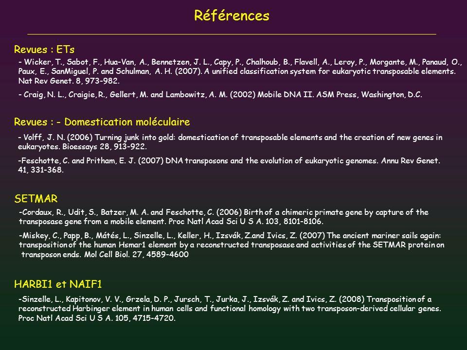 Références Revues : ETs Revues : - Domestication moléculaire SETMAR