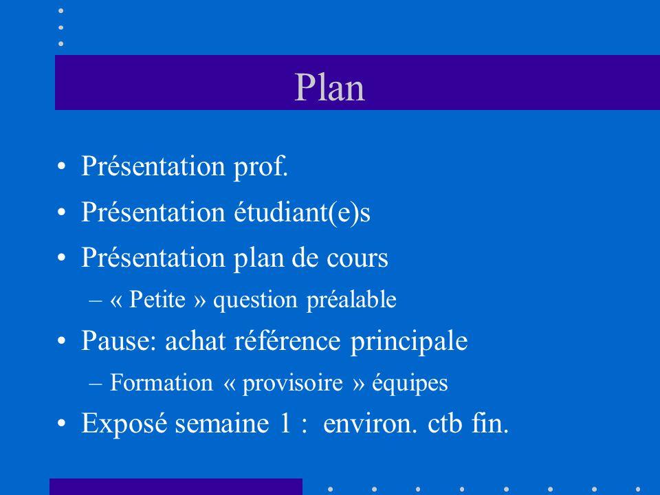 Plan Présentation prof. Présentation étudiant(e)s
