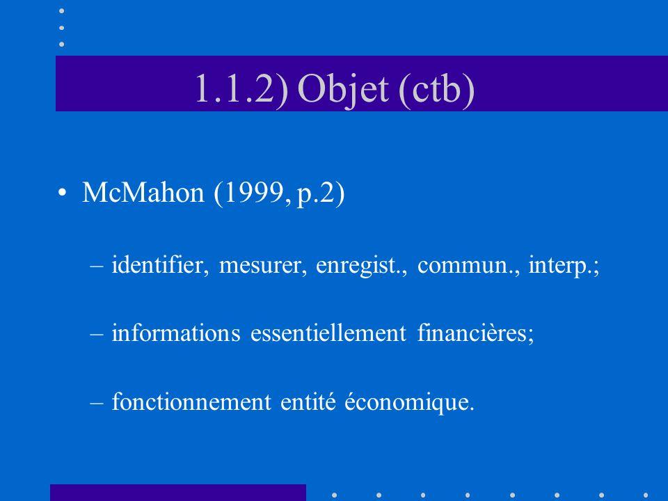 1.1.2) Objet (ctb) McMahon (1999, p.2)