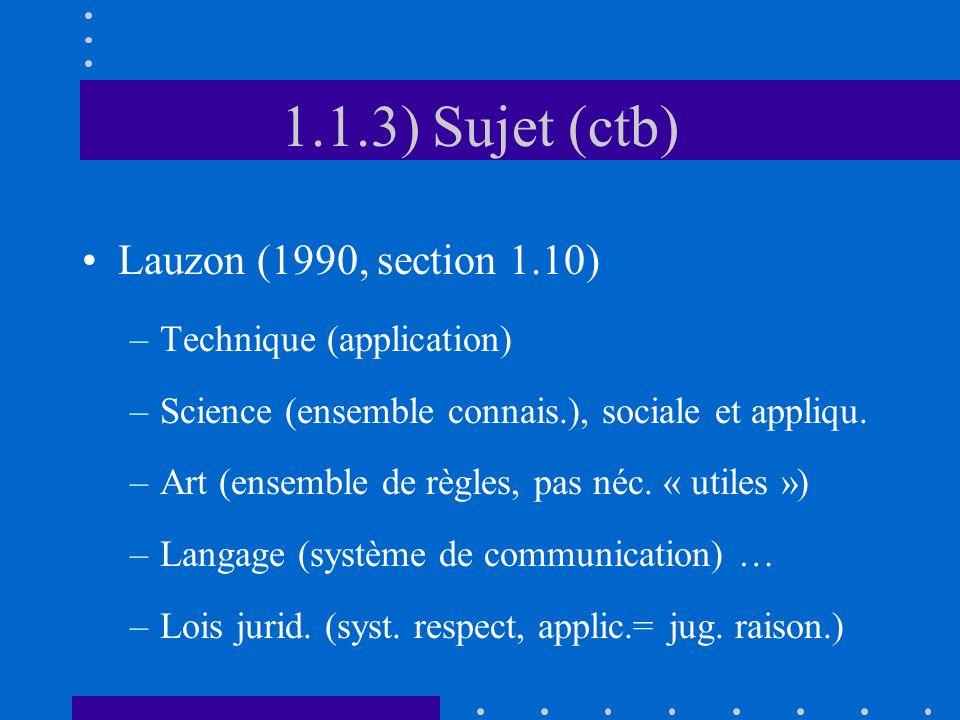 1.1.3) Sujet (ctb) Lauzon (1990, section 1.10) Technique (application)