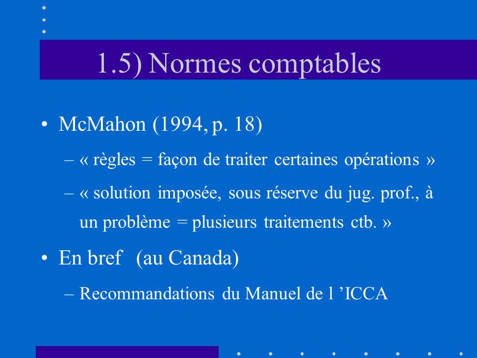 1.5) Normes comptables McMahon (1994, p. 18) En bref (au Canada)