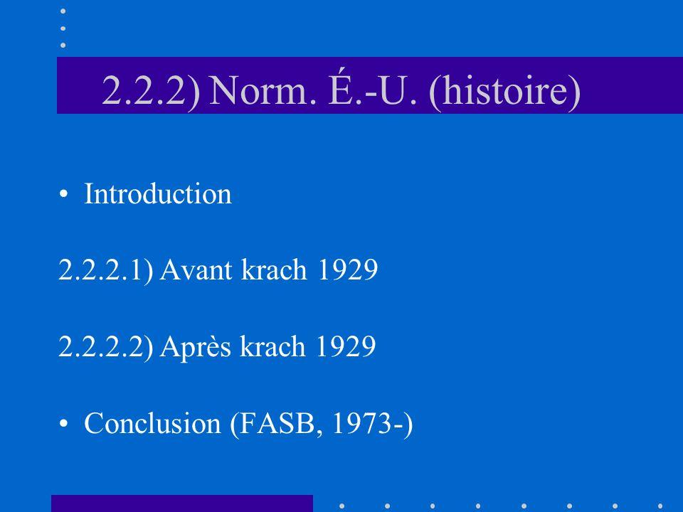 2.2.2) Norm. É.-U. (histoire) Introduction 2.2.2.1) Avant krach 1929