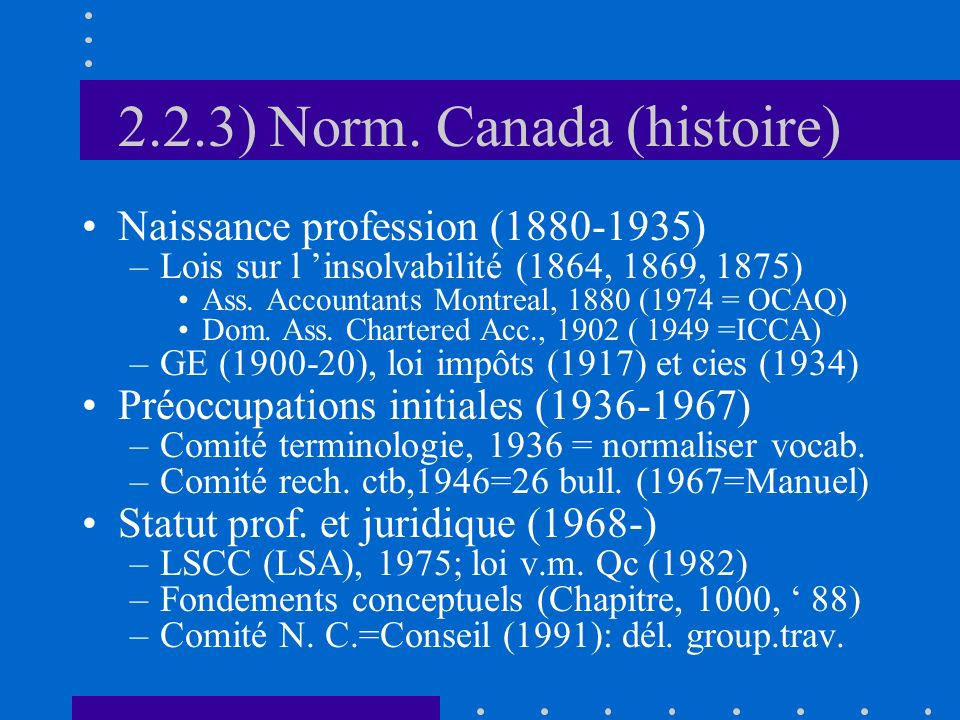 2.2.3) Norm. Canada (histoire)