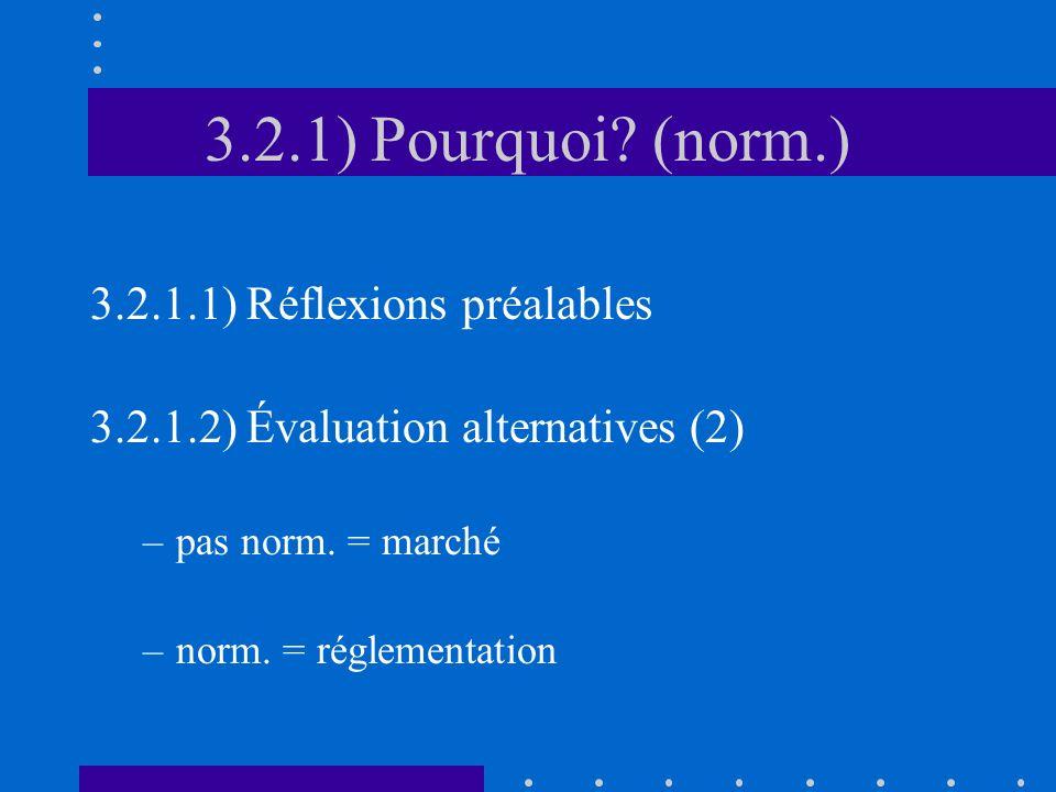 3.2.1) Pourquoi (norm.) 3.2.1.1) Réflexions préalables