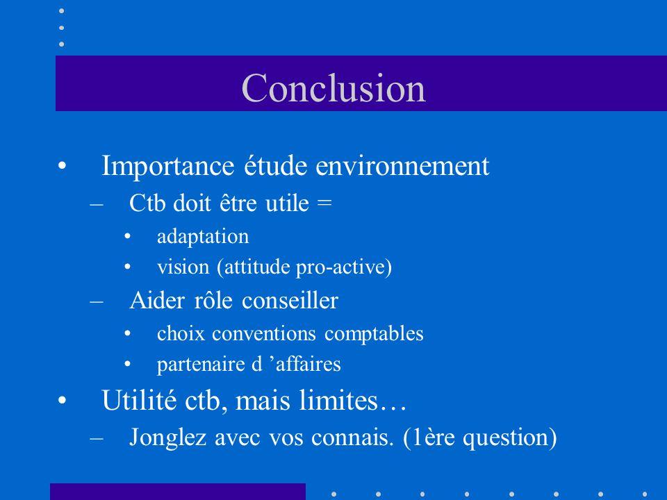 Conclusion Importance étude environnement Utilité ctb, mais limites…