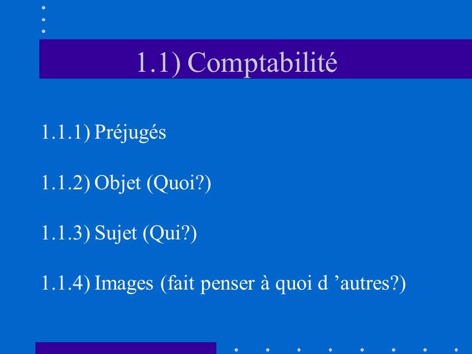 1.1) Comptabilité 1.1.1) Préjugés 1.1.2) Objet (Quoi )