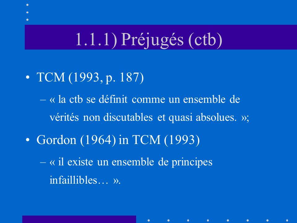 1.1.1) Préjugés (ctb) TCM (1993, p. 187) Gordon (1964) in TCM (1993)