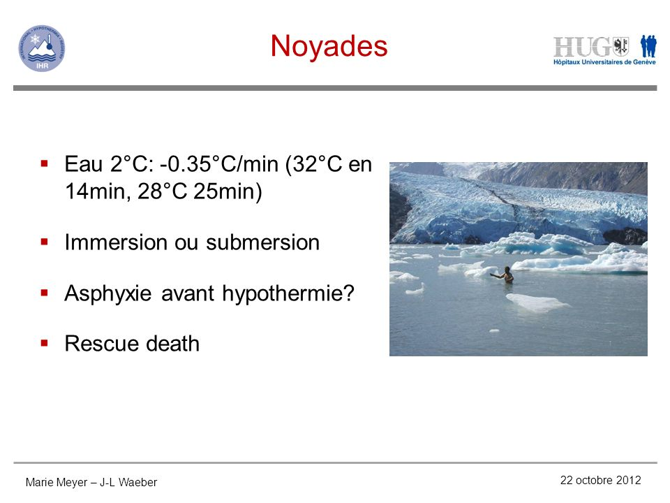 Noyades Eau 2°C: -0.35°C/min (32°C en 14min, 28°C 25min)