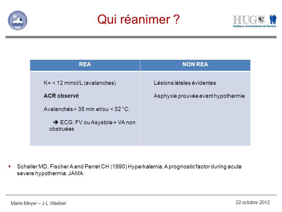 Qui réanimer REA NON REA K+ < 12 mmol/L (avalanches) ACR observé