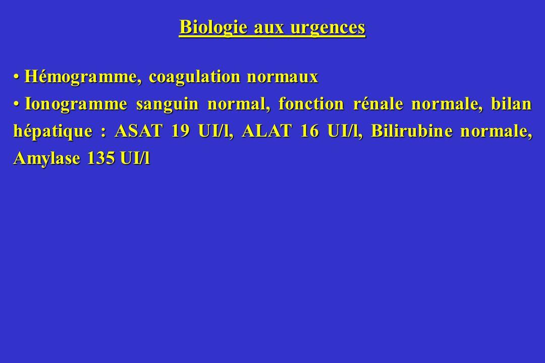 Biologie aux urgences Hémogramme, coagulation normaux