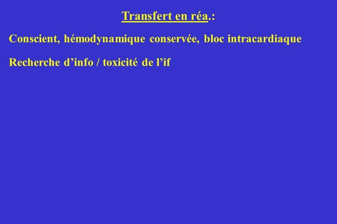 Transfert en réa.: Conscient, hémodynamique conservée, bloc intracardiaque. Recherche d'info / toxicité de l'if.