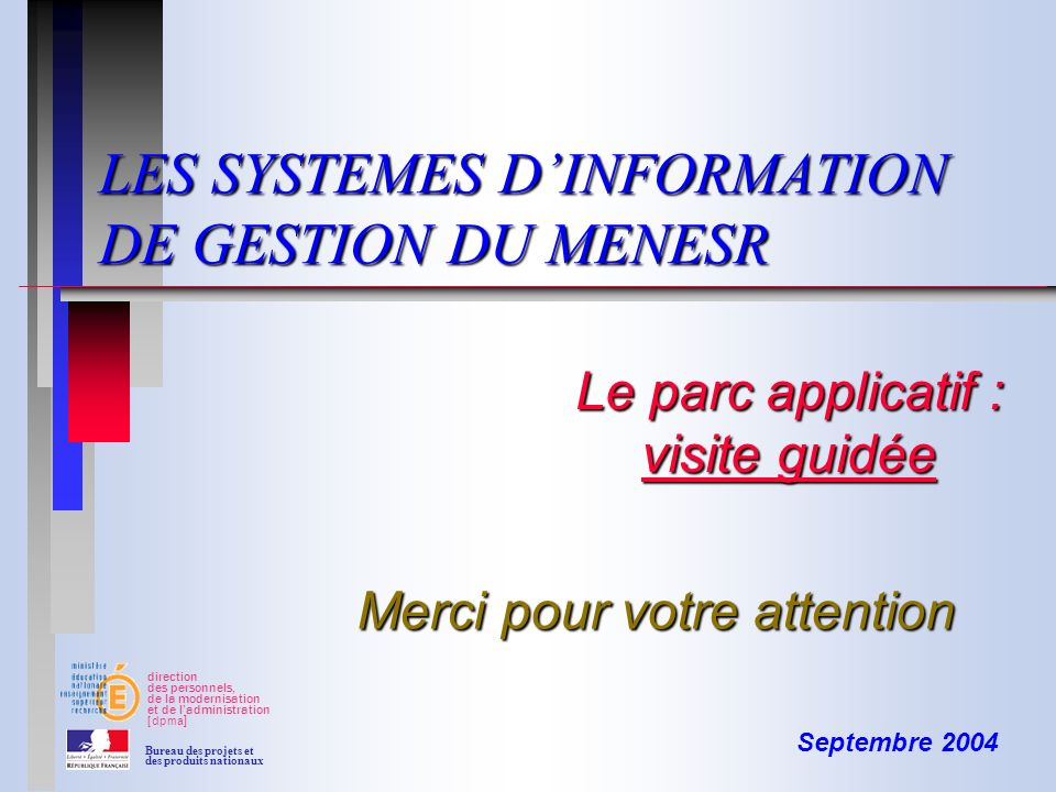 LES SYSTEMES D'INFORMATION DE GESTION DU MENESR