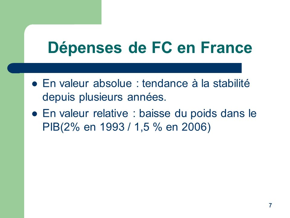 Dépenses de FC en France