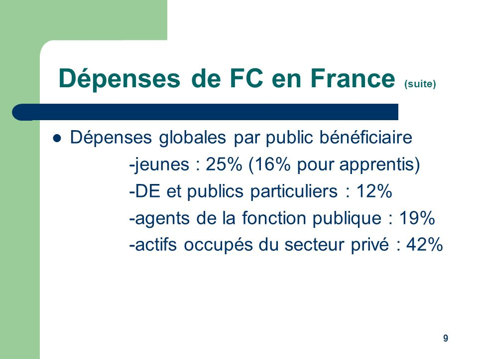 Dépenses de FC en France (suite)