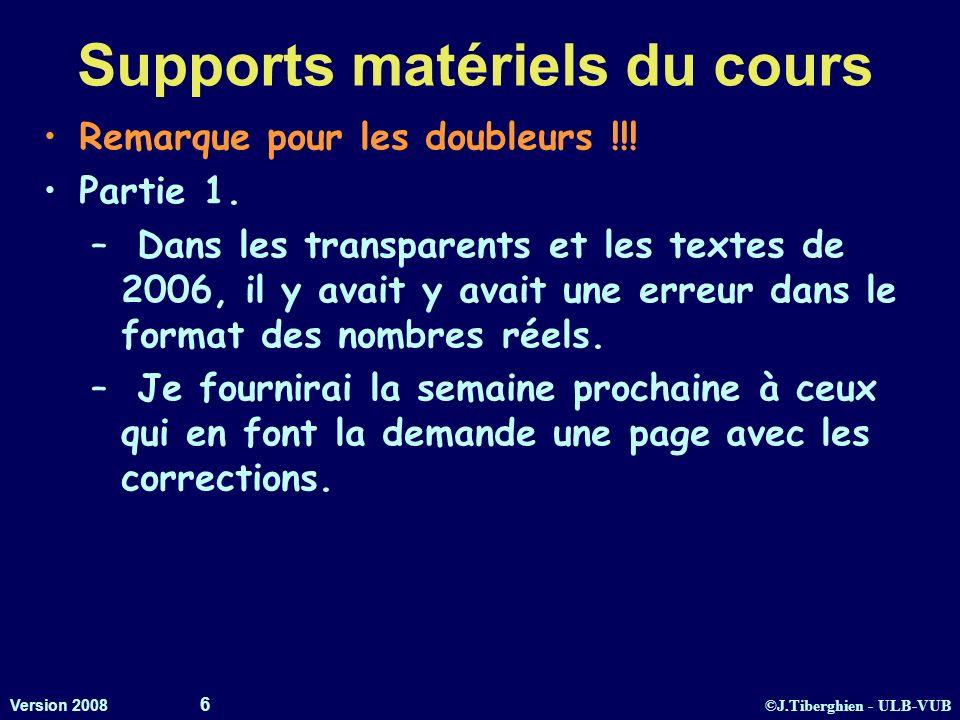 Supports matériels du cours