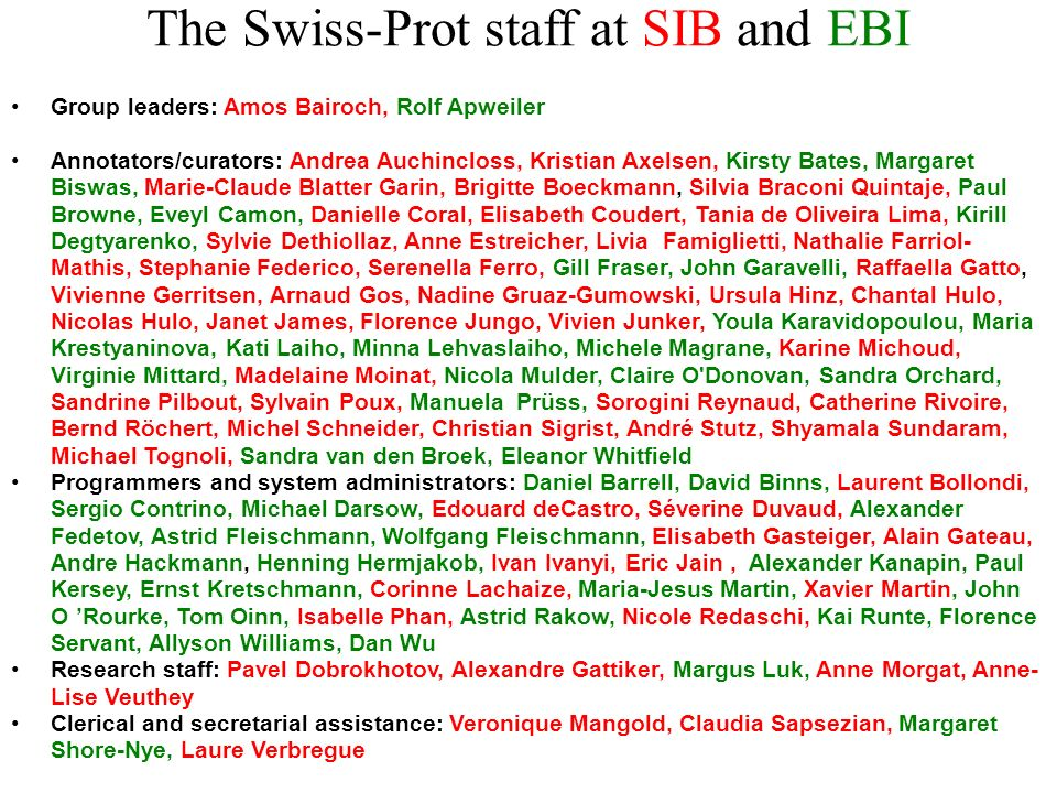 The Swiss-Prot staff at SIB and EBI