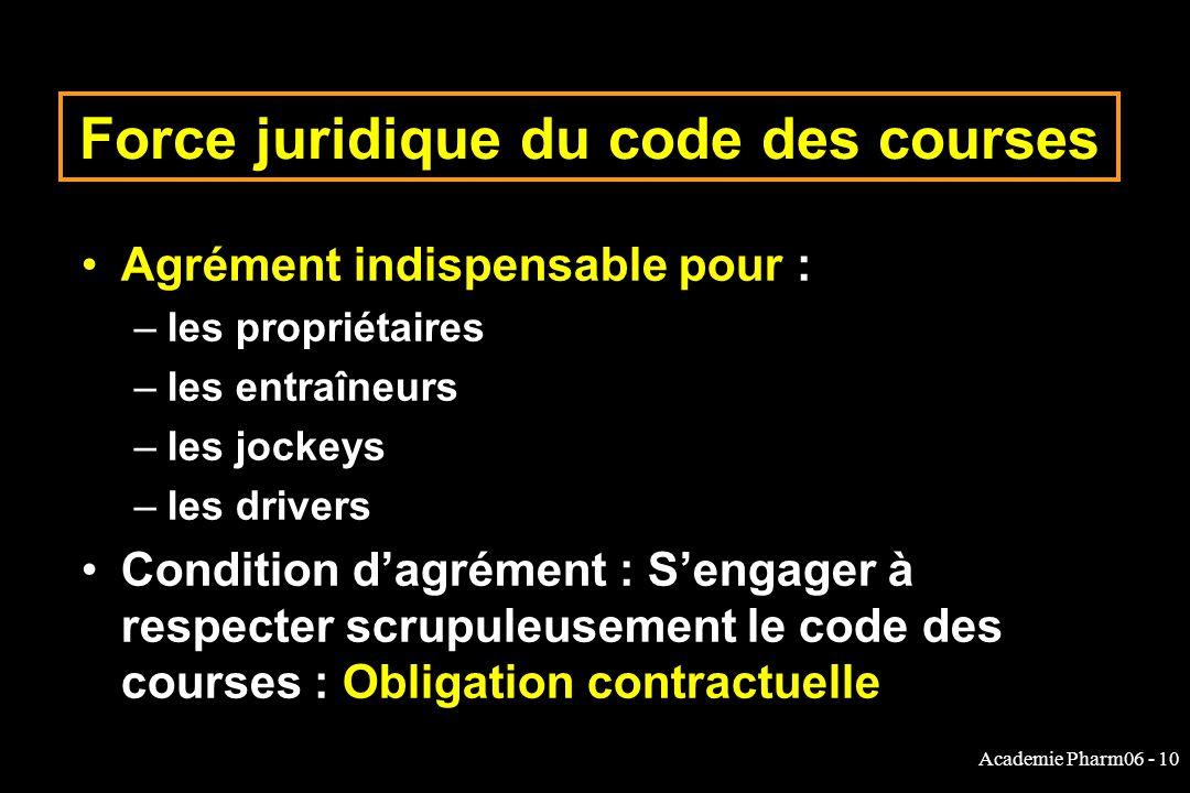 Force juridique du code des courses