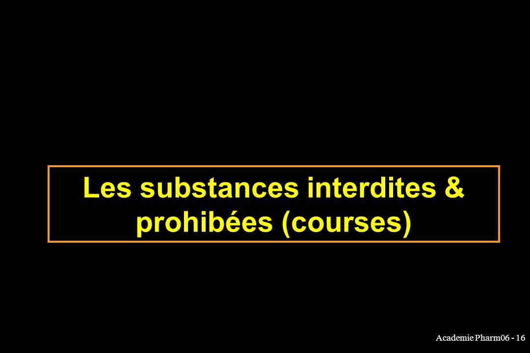 Les substances interdites & prohibées (courses)