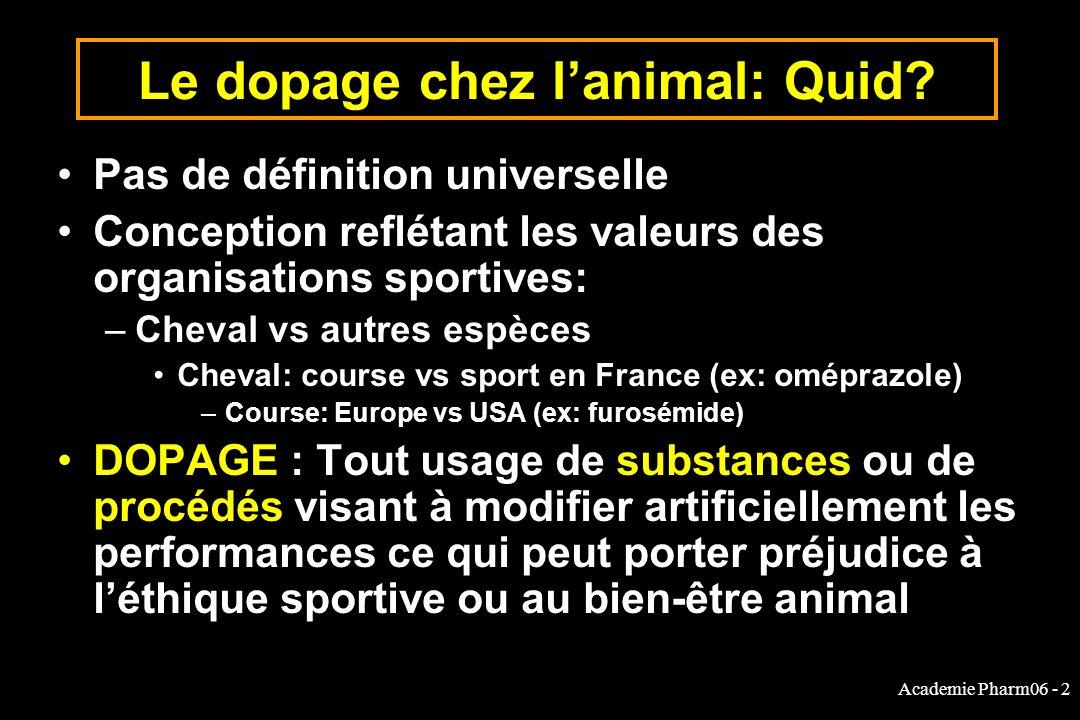 Le dopage chez l'animal: Quid