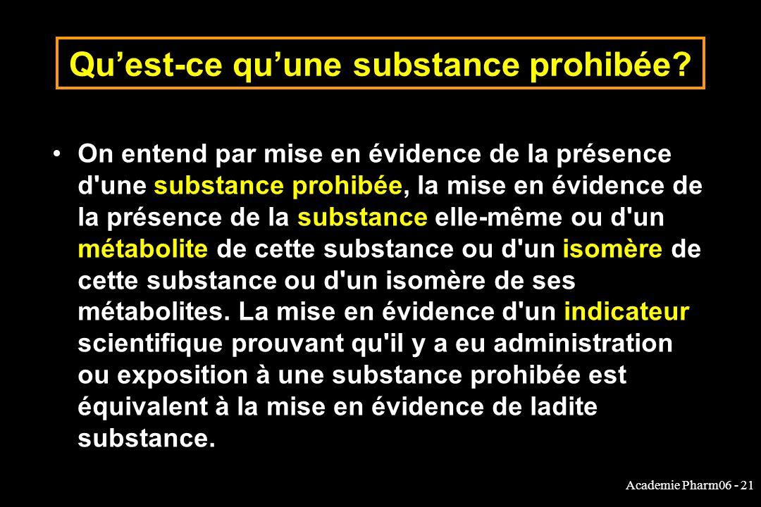 Qu'est-ce qu'une substance prohibée
