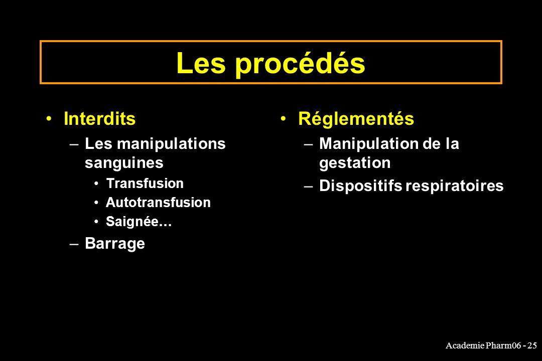 Les procédés Interdits Réglementés Les manipulations sanguines Barrage