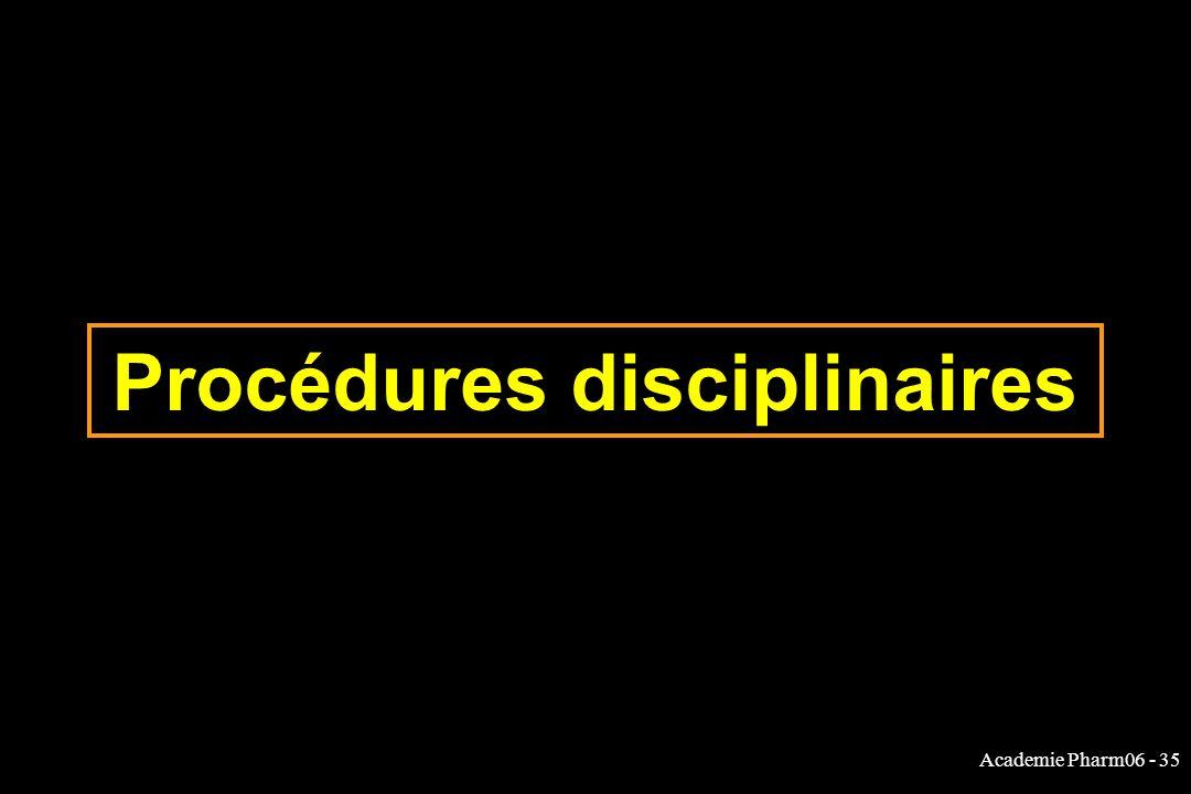 Procédures disciplinaires