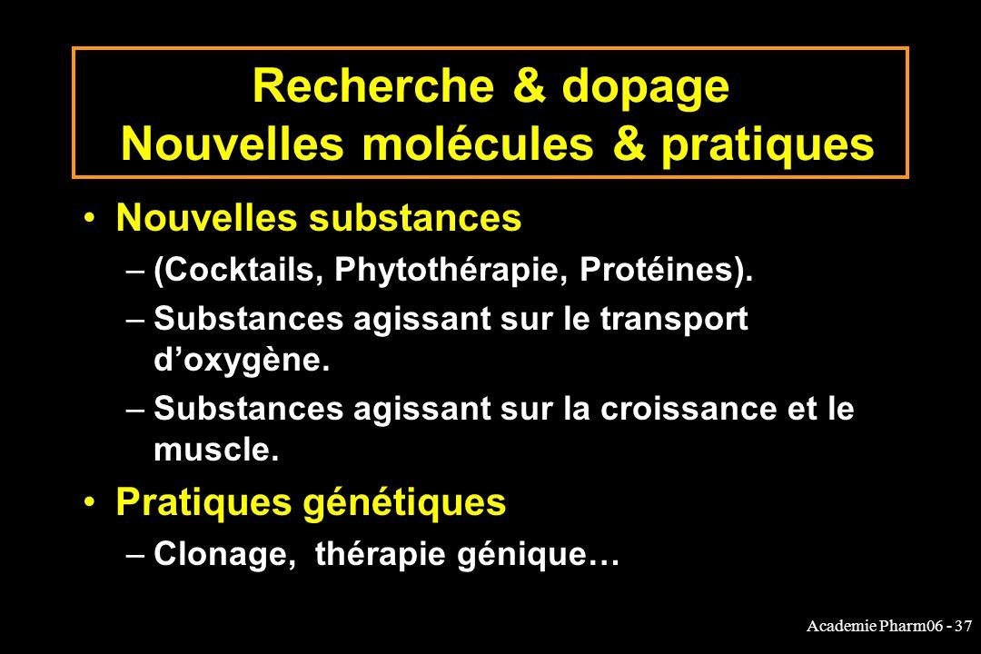 Recherche & dopage Nouvelles molécules & pratiques
