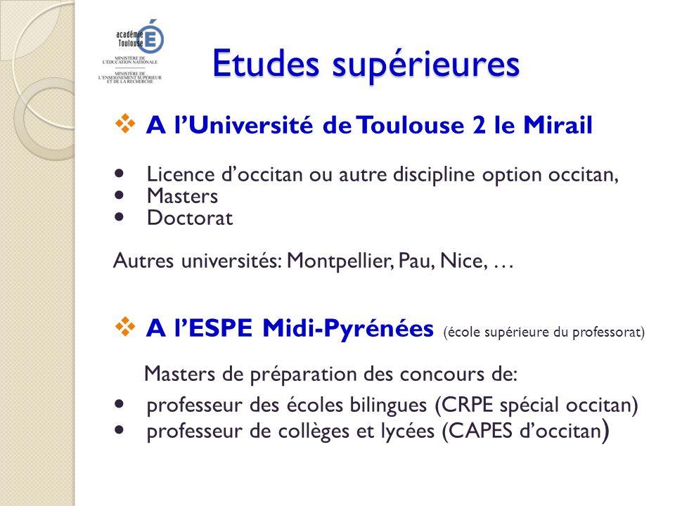 Etudes supérieures A l'Université de Toulouse 2 le Mirail