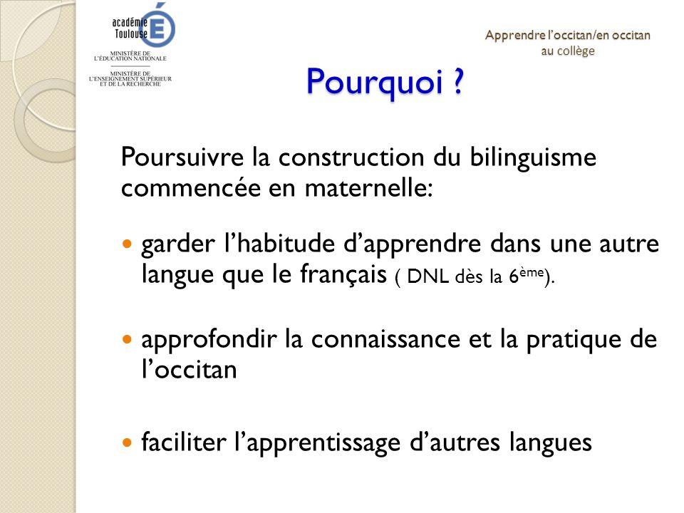 Apprendre l'occitan/en occitan au collège