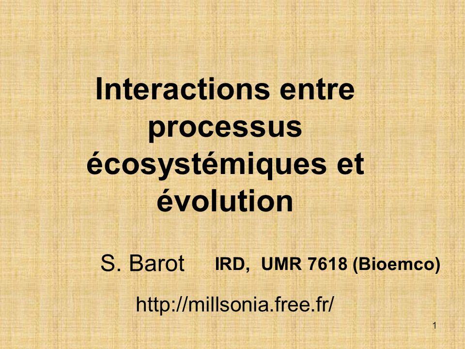 Interactions entre processus écosystémiques et évolution