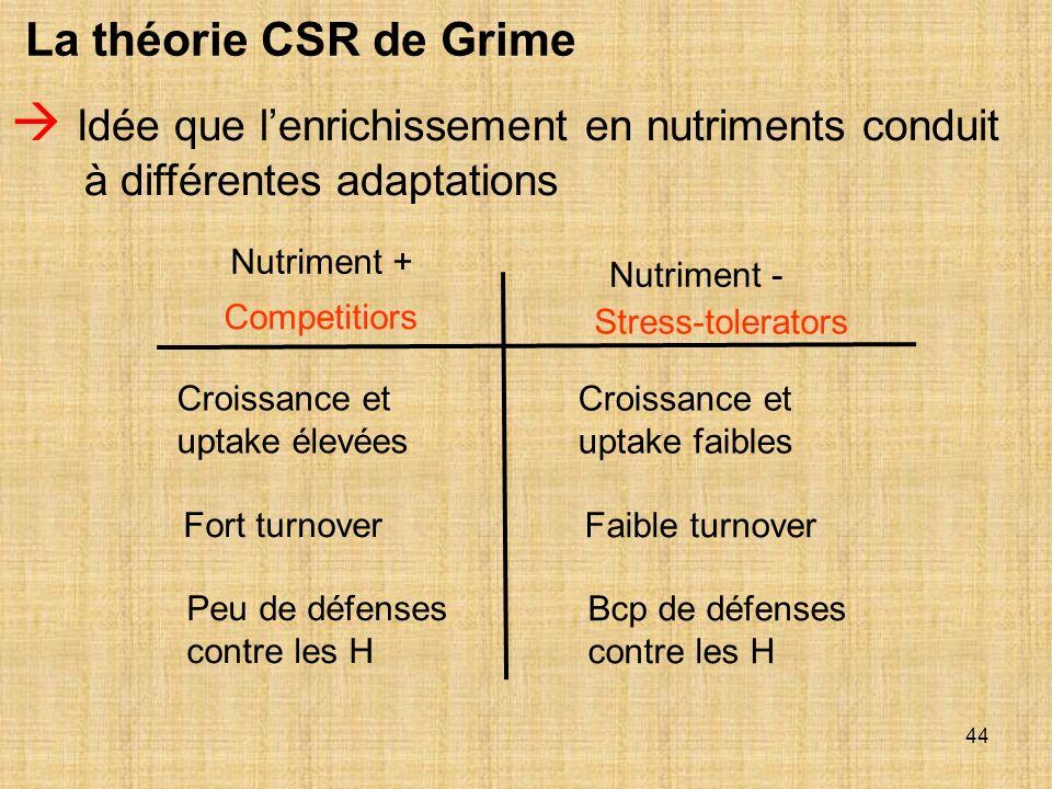 La théorie CSR de Grime  Idée que l'enrichissement en nutriments conduit à différentes adaptations.