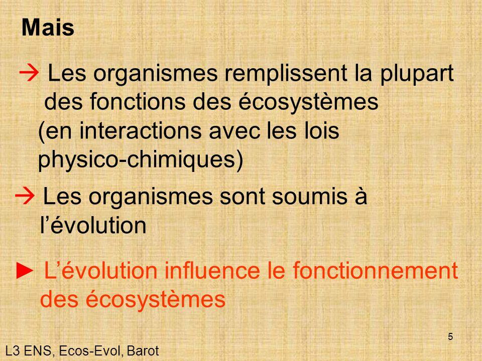 Les organismes sont soumis à l'évolution