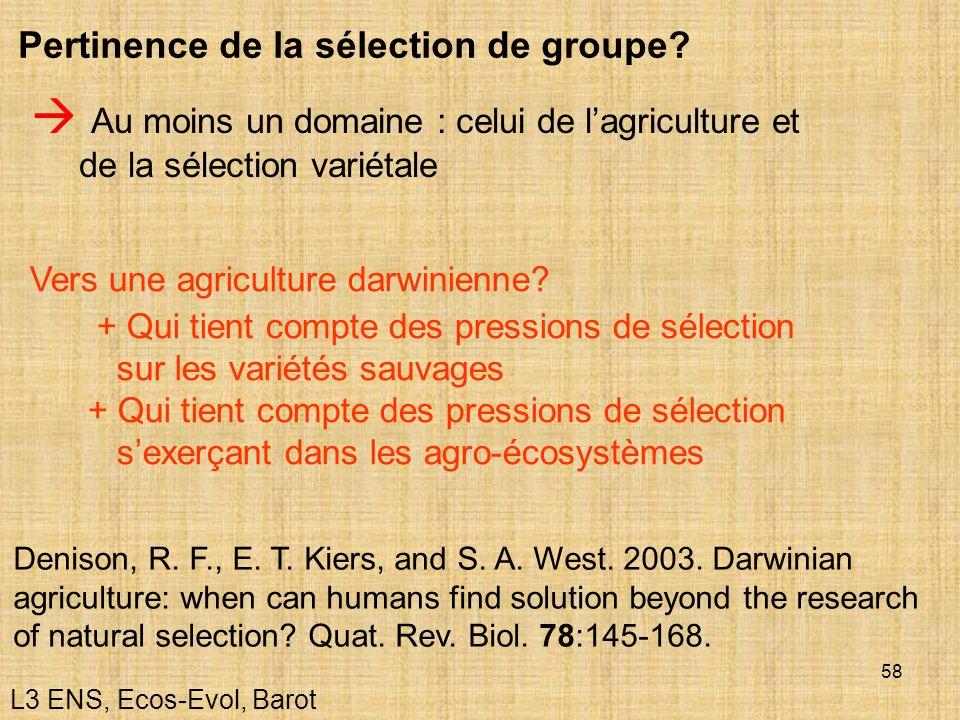 Pertinence de la sélection de groupe