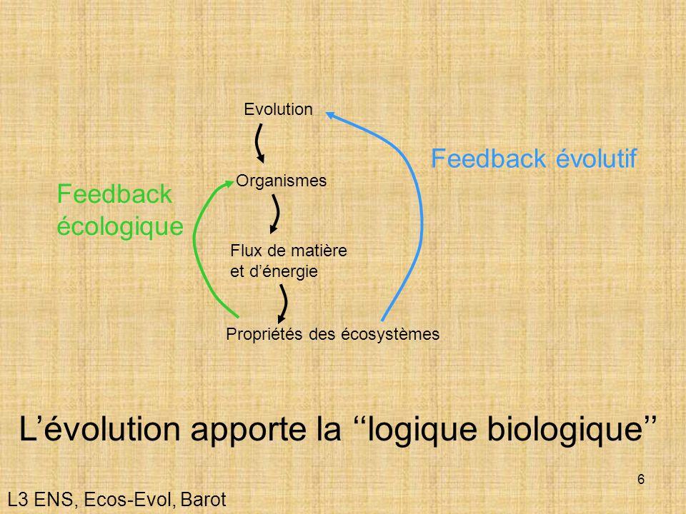 L'évolution apporte la ''logique biologique''
