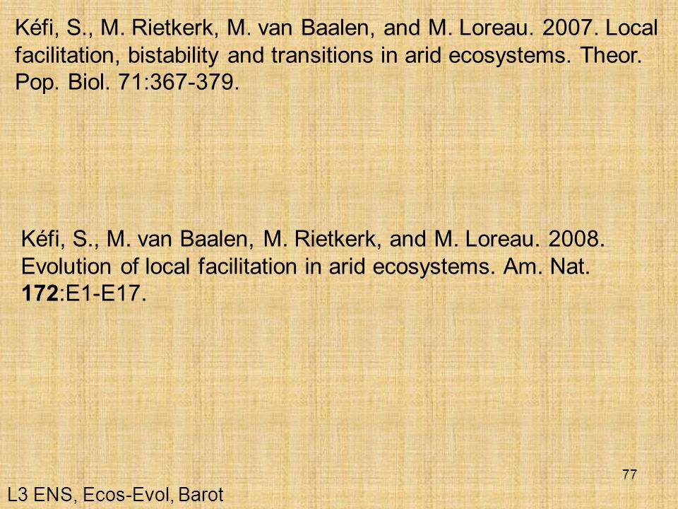 Kéfi, S. , M. Rietkerk, M. van Baalen, and M. Loreau. 2007