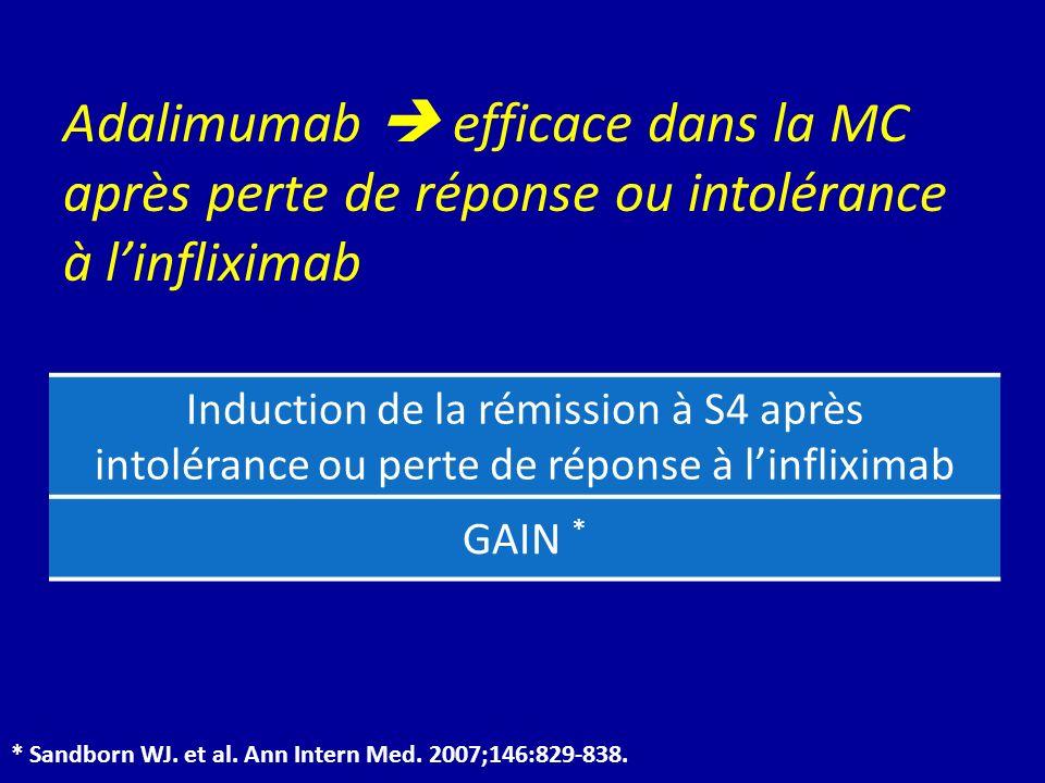 Adalimumab  efficace dans la MC après perte de réponse ou intolérance à l'infliximab