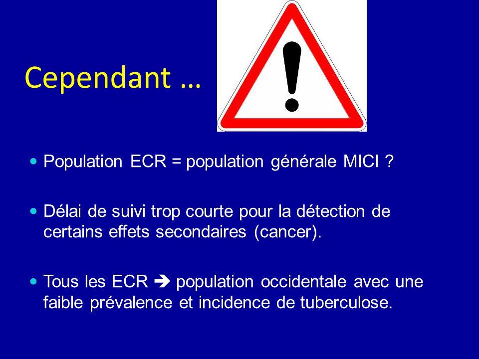 Cependant … Population ECR = population générale MICI