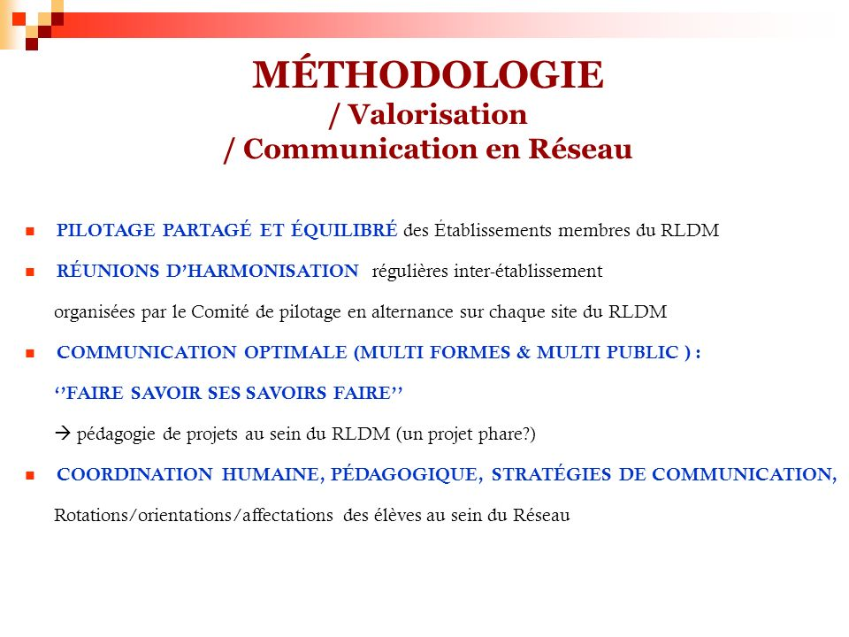 MÉTHODOLOGIE / Valorisation / Communication en Réseau