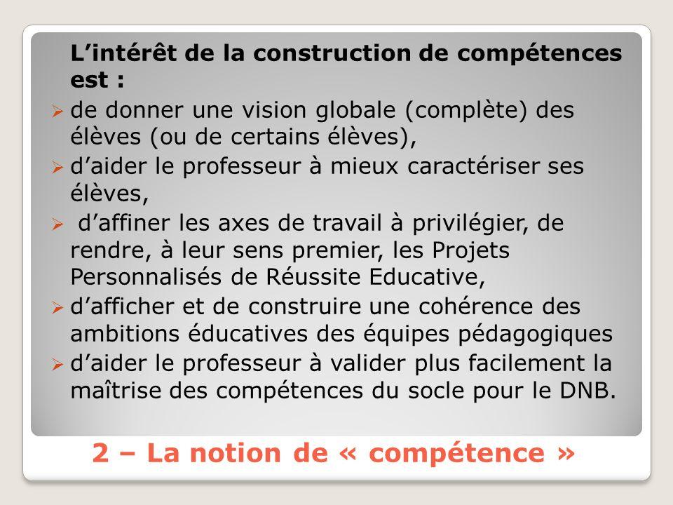 2 – La notion de « compétence »