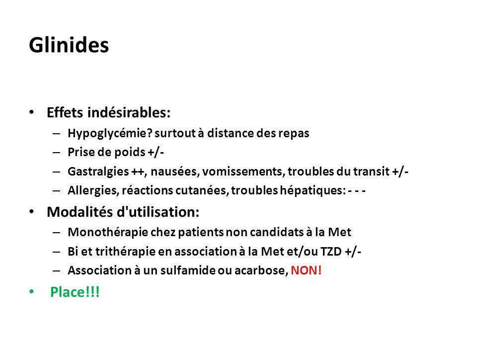 Glinides Effets indésirables: Modalités d utilisation: Place!!!