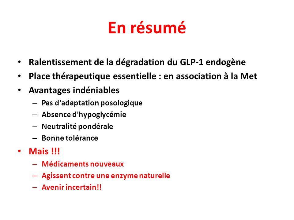 En résumé Ralentissement de la dégradation du GLP-1 endogène