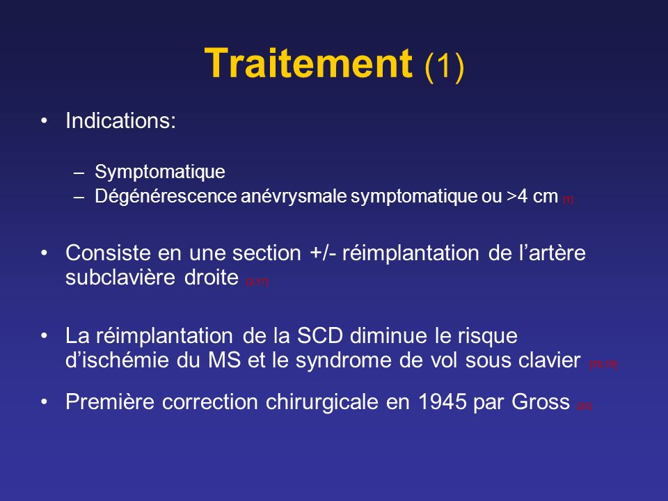 Traitement (1) Indications: