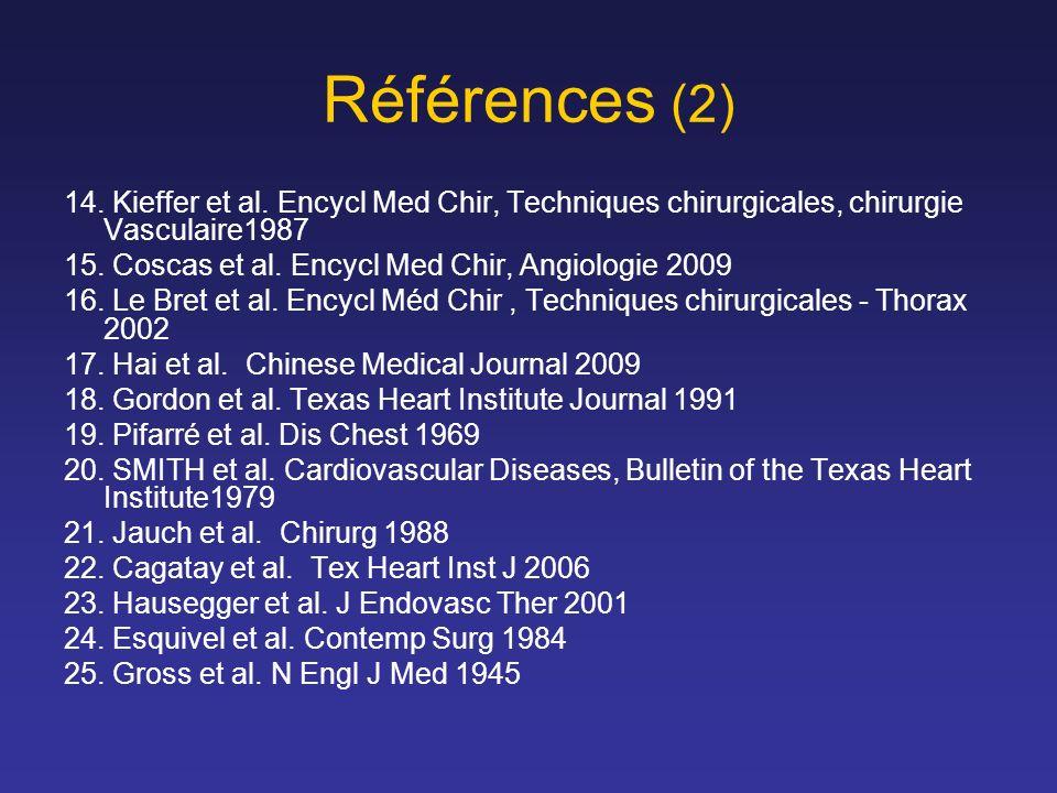 Références (2) 14. Kieffer et al. Encycl Med Chir, Techniques chirurgicales, chirurgie Vasculaire1987.