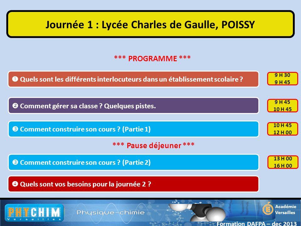 Journée 1 : Lycée Charles de Gaulle, POISSY
