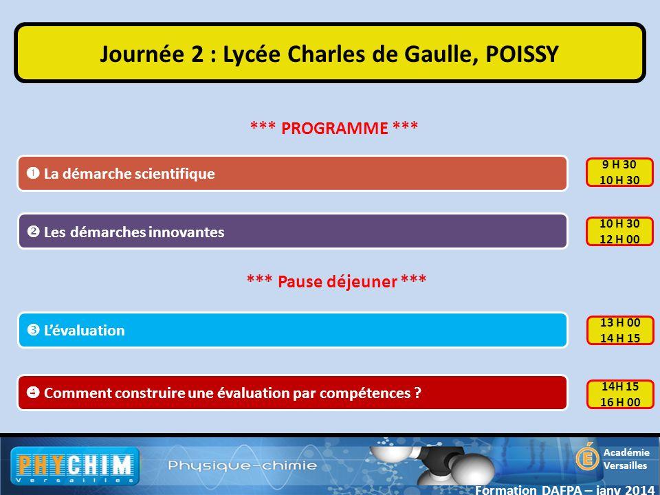 Journée 2 : Lycée Charles de Gaulle, POISSY