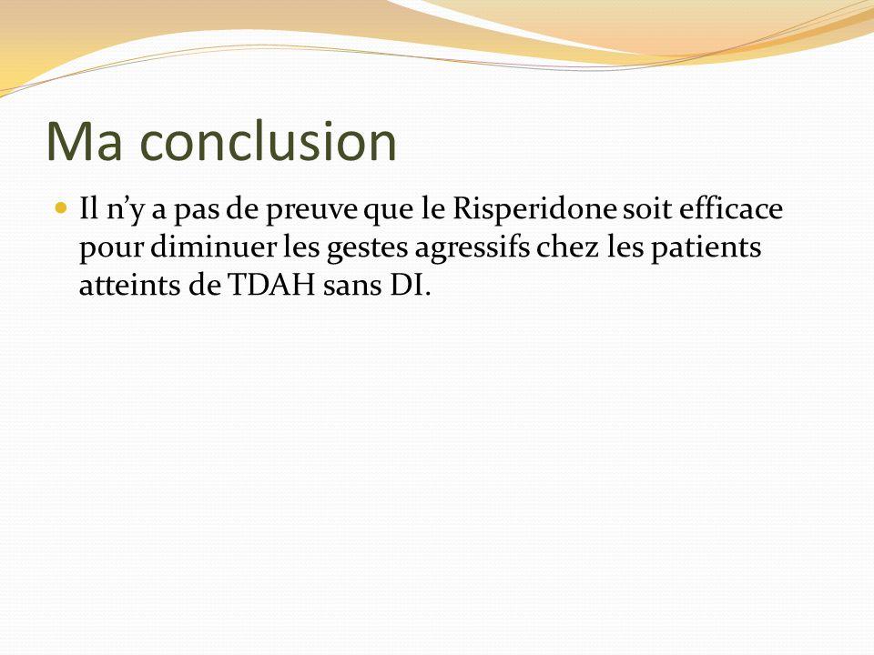 Ma conclusion Il n'y a pas de preuve que le Risperidone soit efficace pour diminuer les gestes agressifs chez les patients atteints de TDAH sans DI.