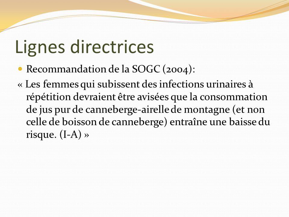 Lignes directrices Recommandation de la SOGC (2004):