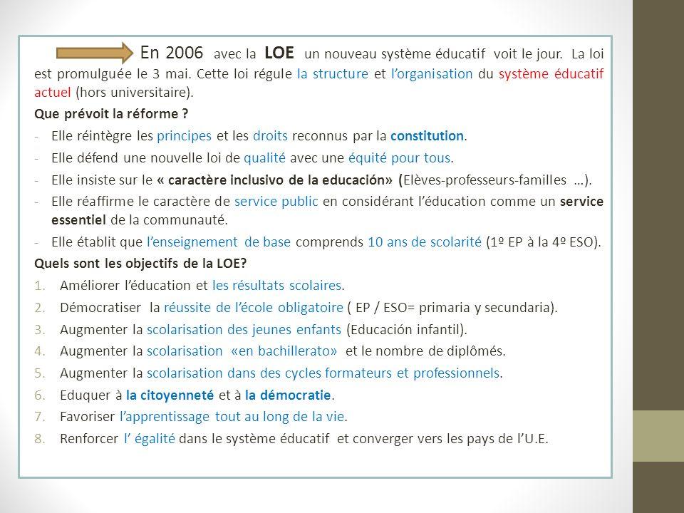 En 2006 avec la LOE un nouveau système éducatif voit le jour